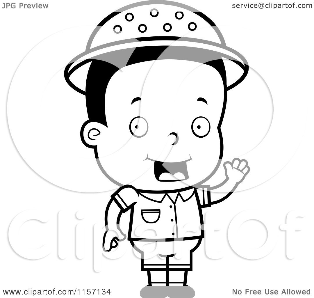 cartoon clipart of a black and white toddler safari boy waving