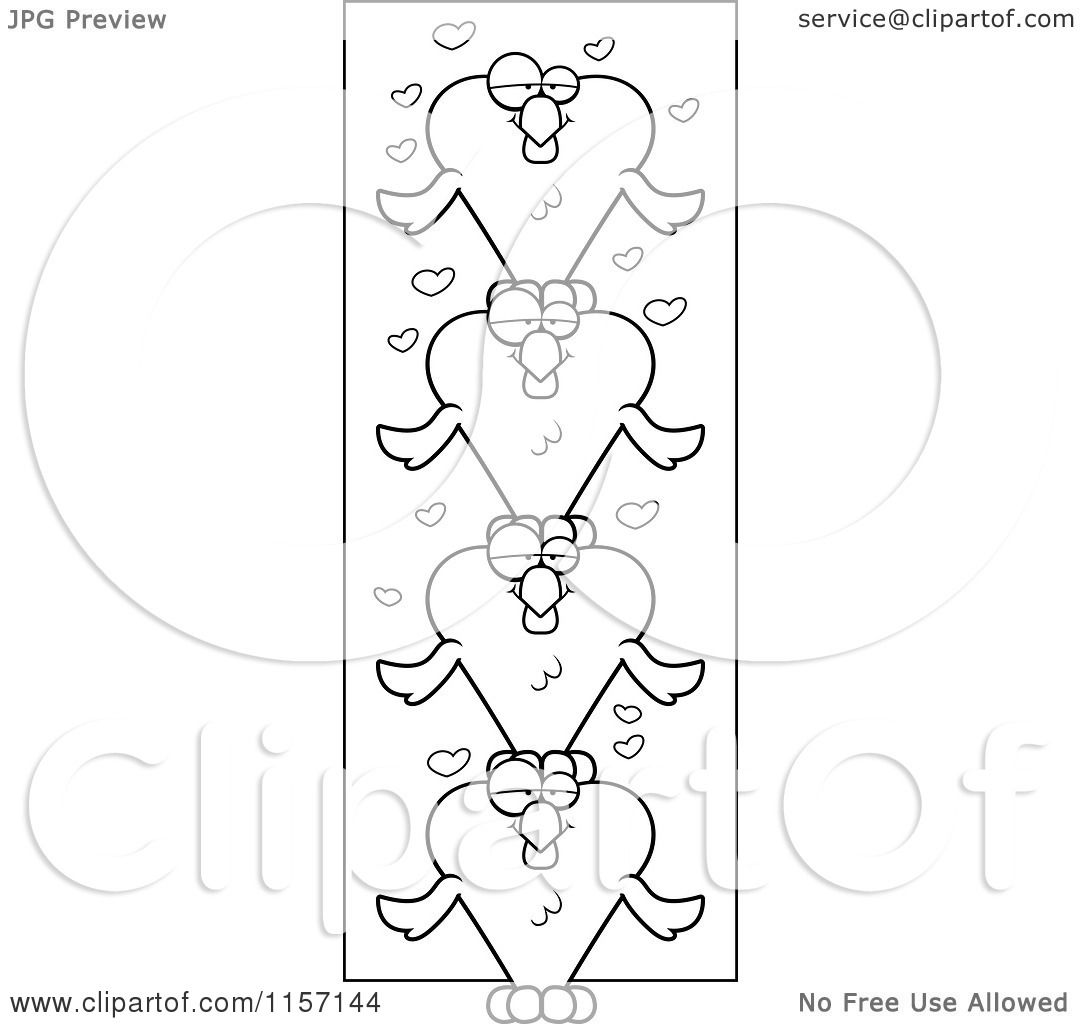 cartoon clipart of a black and white totem pole of heart shaped