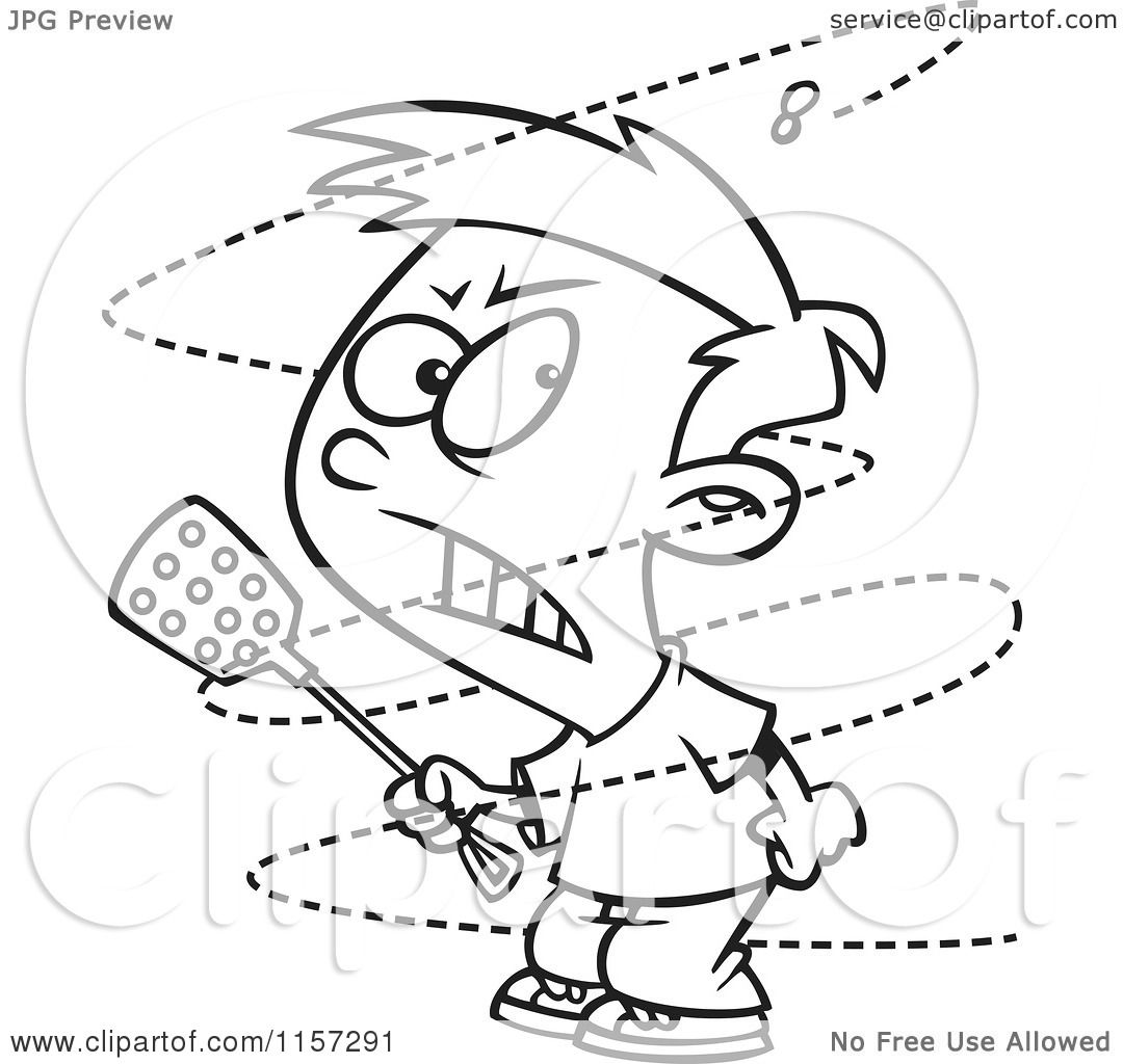 cartoon clipart of a black and white trying to swat a pesty fly