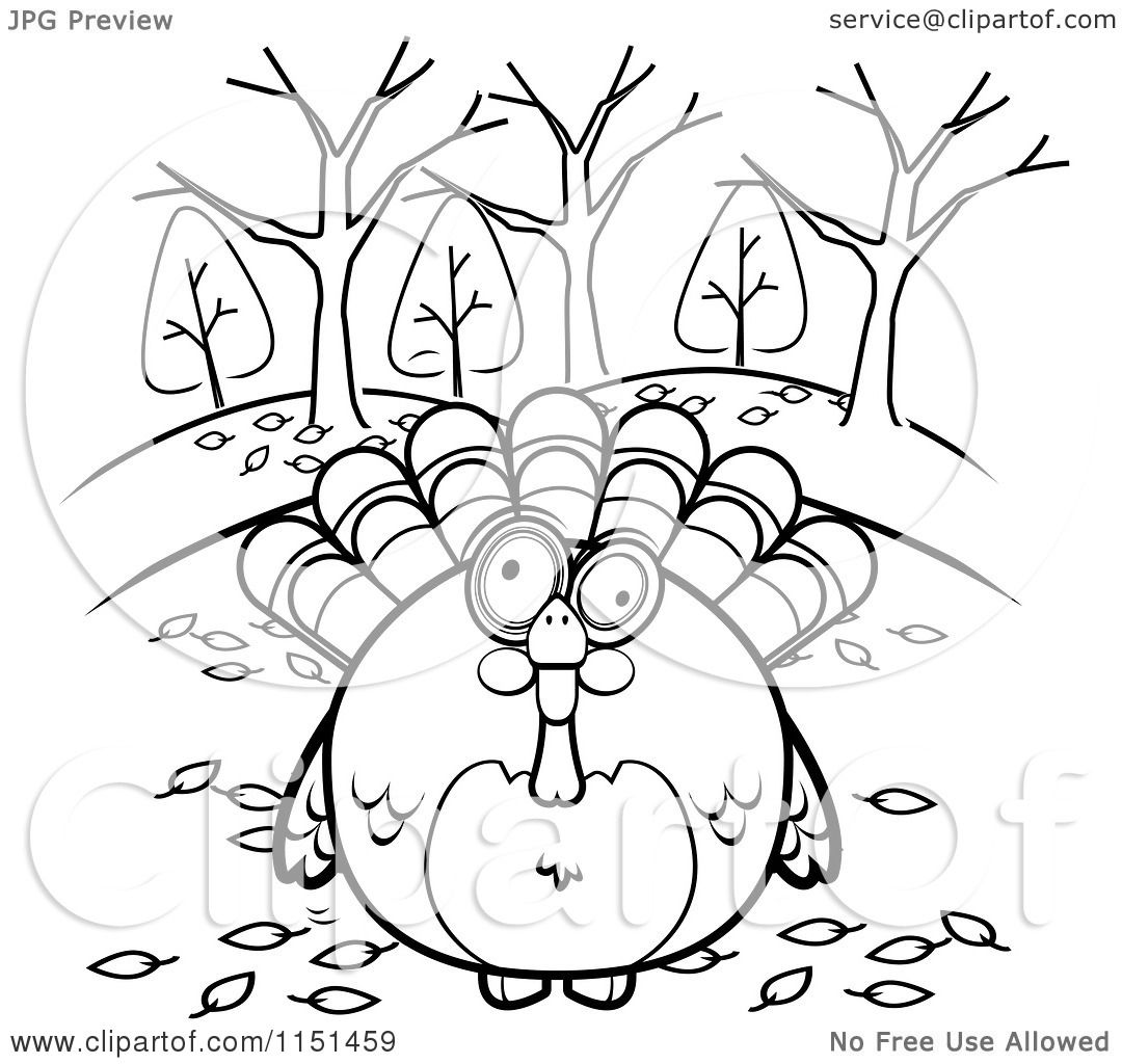 cartoon clipart of a black and white turkey bird surrounded by