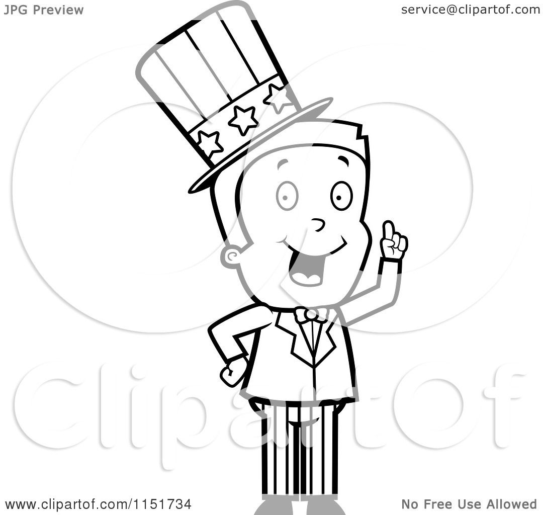 cartoon clipart of a black and white uncle sam boy character in a