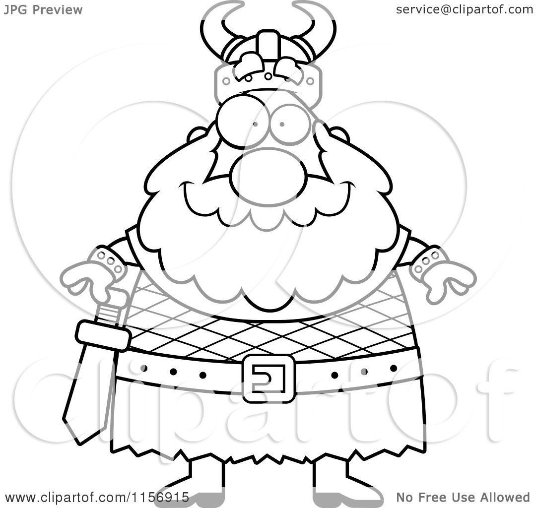 cartoon clipart of a black and white viking vector outlined