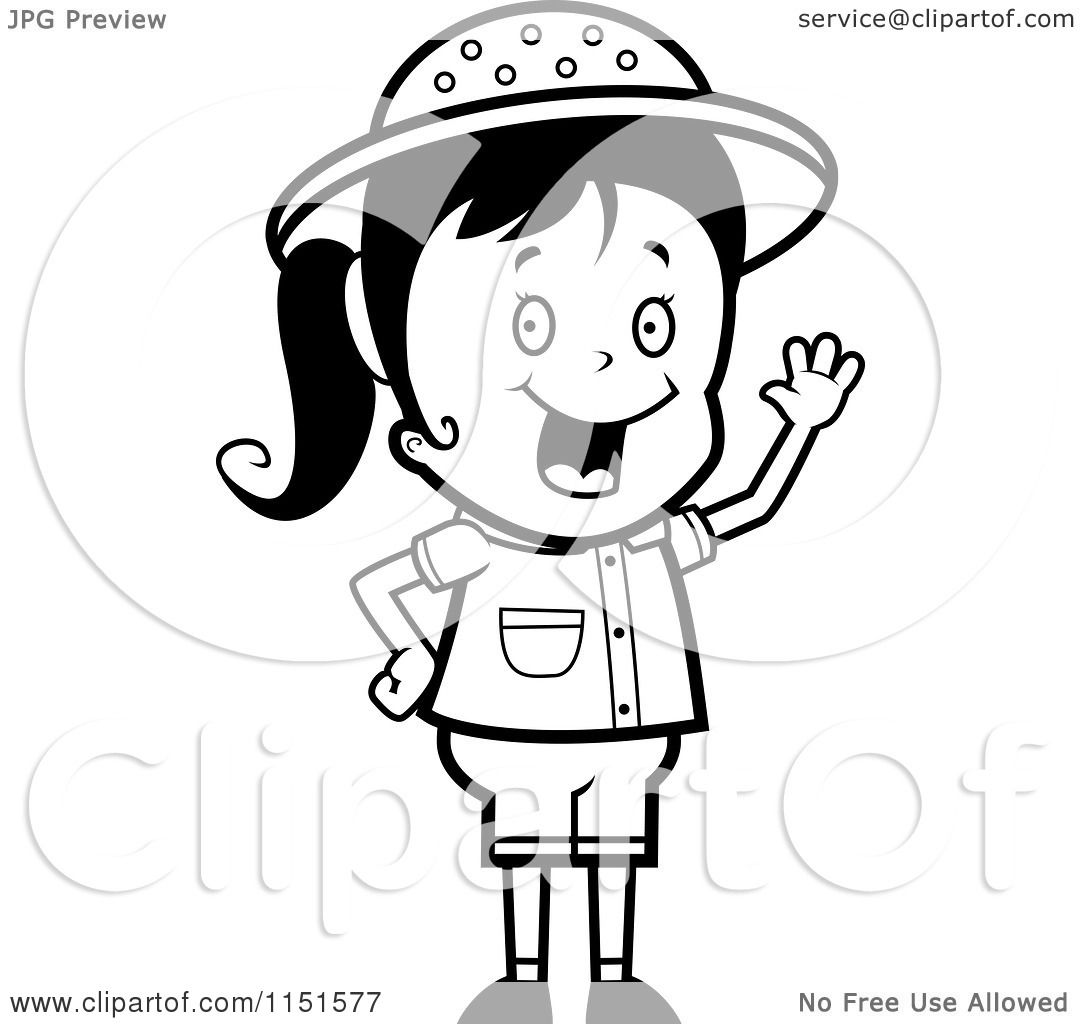 cartoon clipart of a black and white waving happy safari