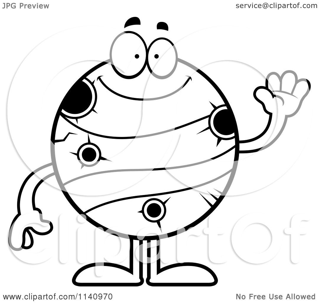 cartoon clipart of a black and white waving planet mercury
