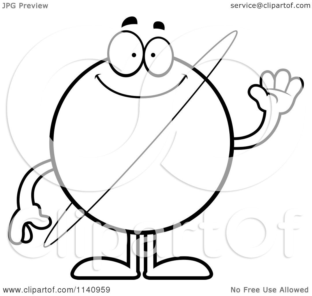 Cartoon Clipart Of A Black And White Waving Planet Uranus - Vector ...