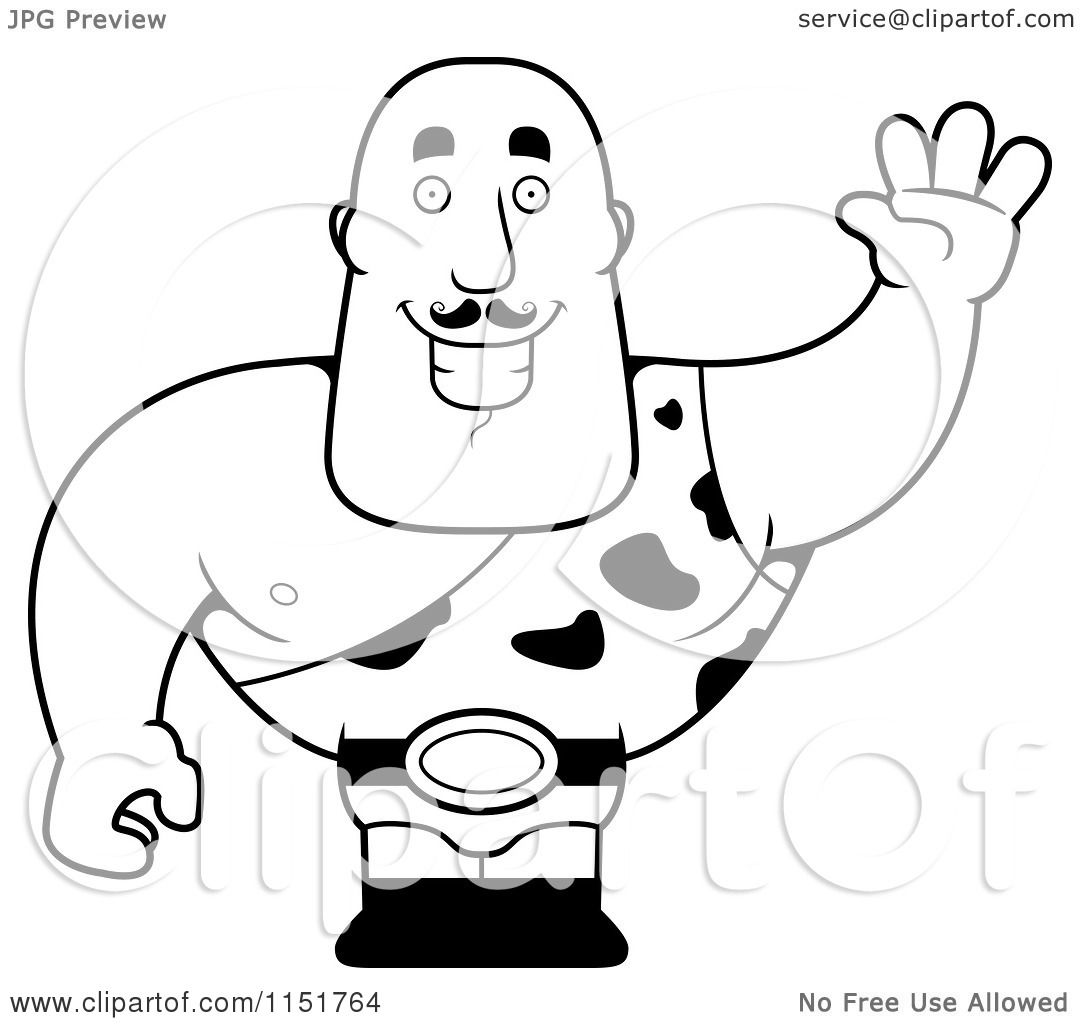 Cartoon Clipart Of A Black And White Waving Strong Man In Spotted Outfit