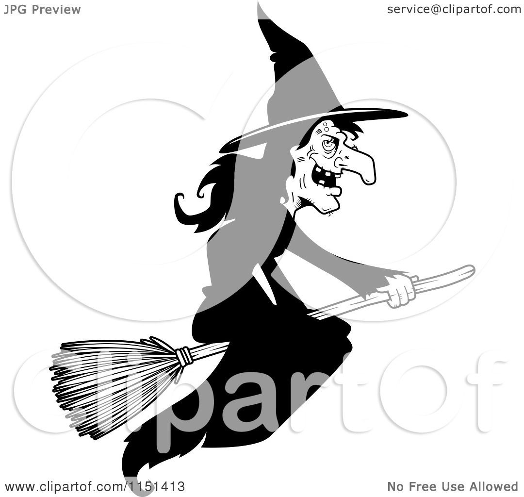 Cartoon Clipart Of A Black And White Wicked Witch Flying on a