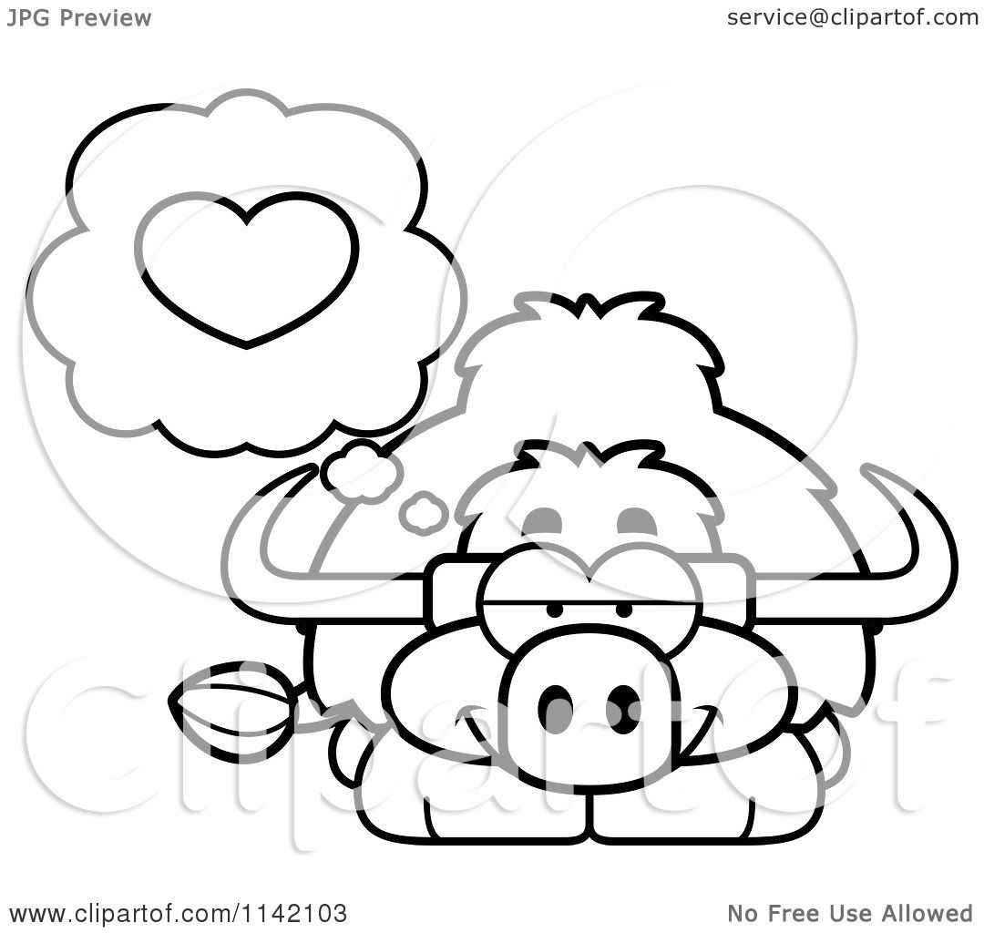 Coloring pages yak - Cartoon Clipart Of A Black And White Yak In Love Vector Outlined Coloring Page By Cory Thoman