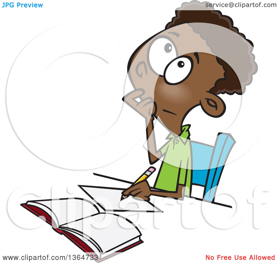 Cartoon Clipart of a Black School Boy Writing and Thinking While ...