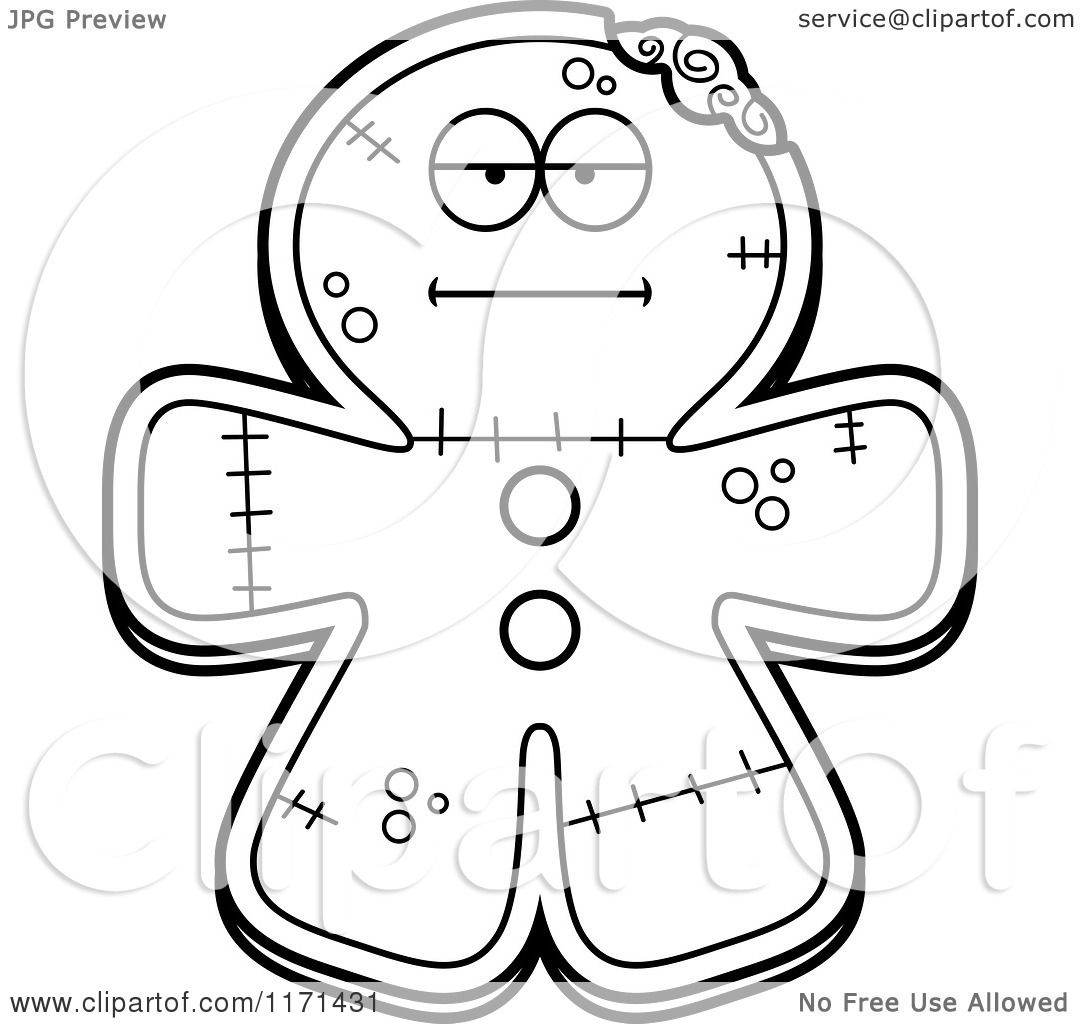 cartoon clipart of a hungry gingerbread zombie mascot vector