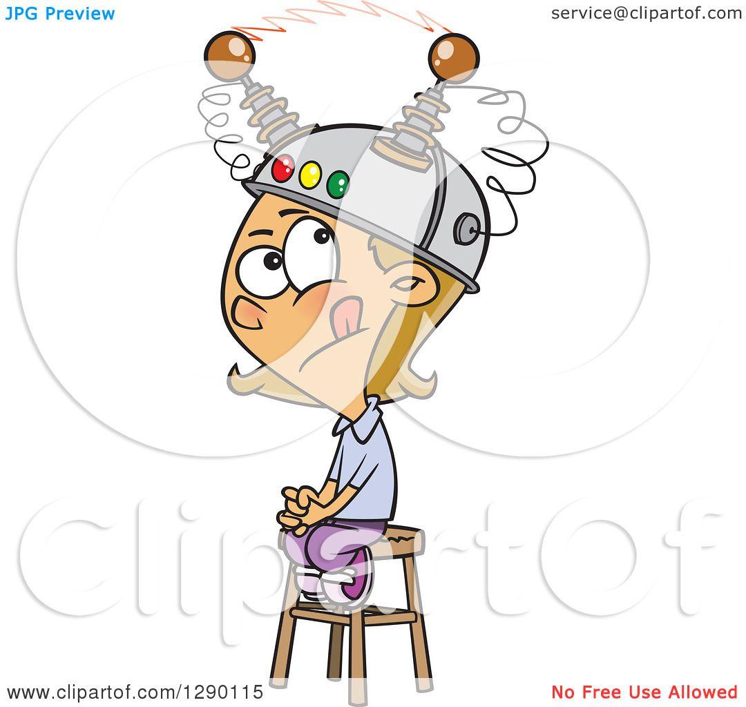 cartoon clipart of a caucasian girl sitting on a stool with a rh clipartof com Critical Thinking Clip Art Thinking Brain Clip Art