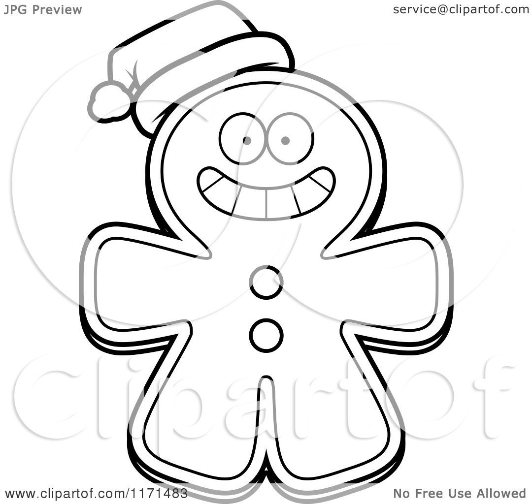 ... Gingerbread Man Mascot Wearing a Santa Hat - Vector Outlined Coloring