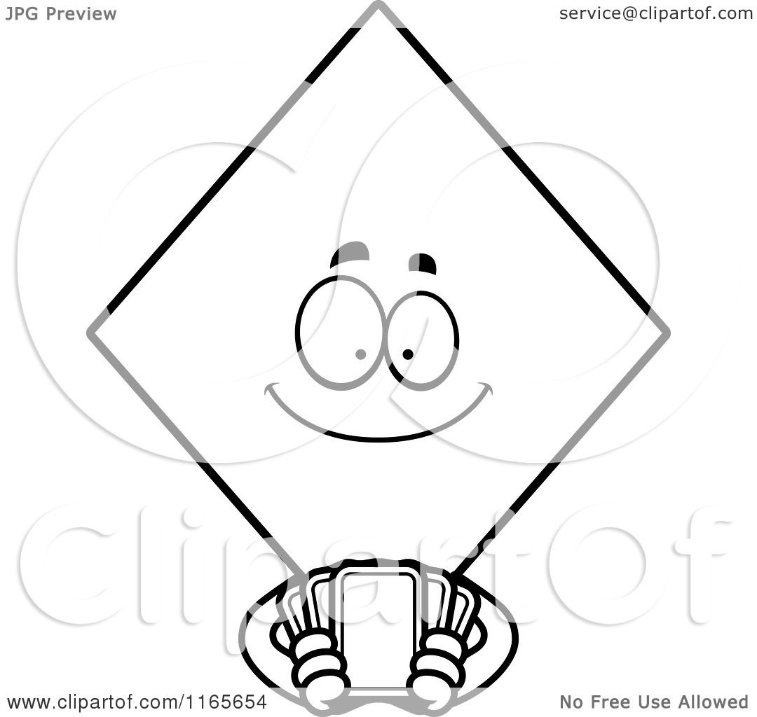 cartoon clipart of a diamond card suit mascot holding playing