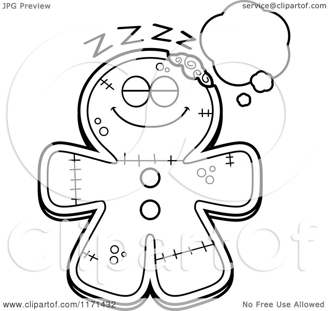 cartoon clipart of a dreaming gingerbread zombie mascot vector