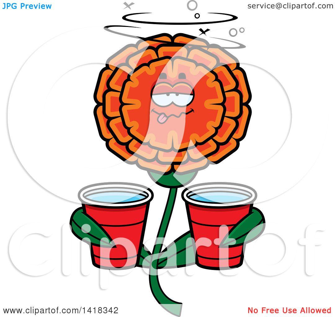 cartoon clipart of a drunk marigold flower holding cups royalty rh clipartof com  marigolds clipart
