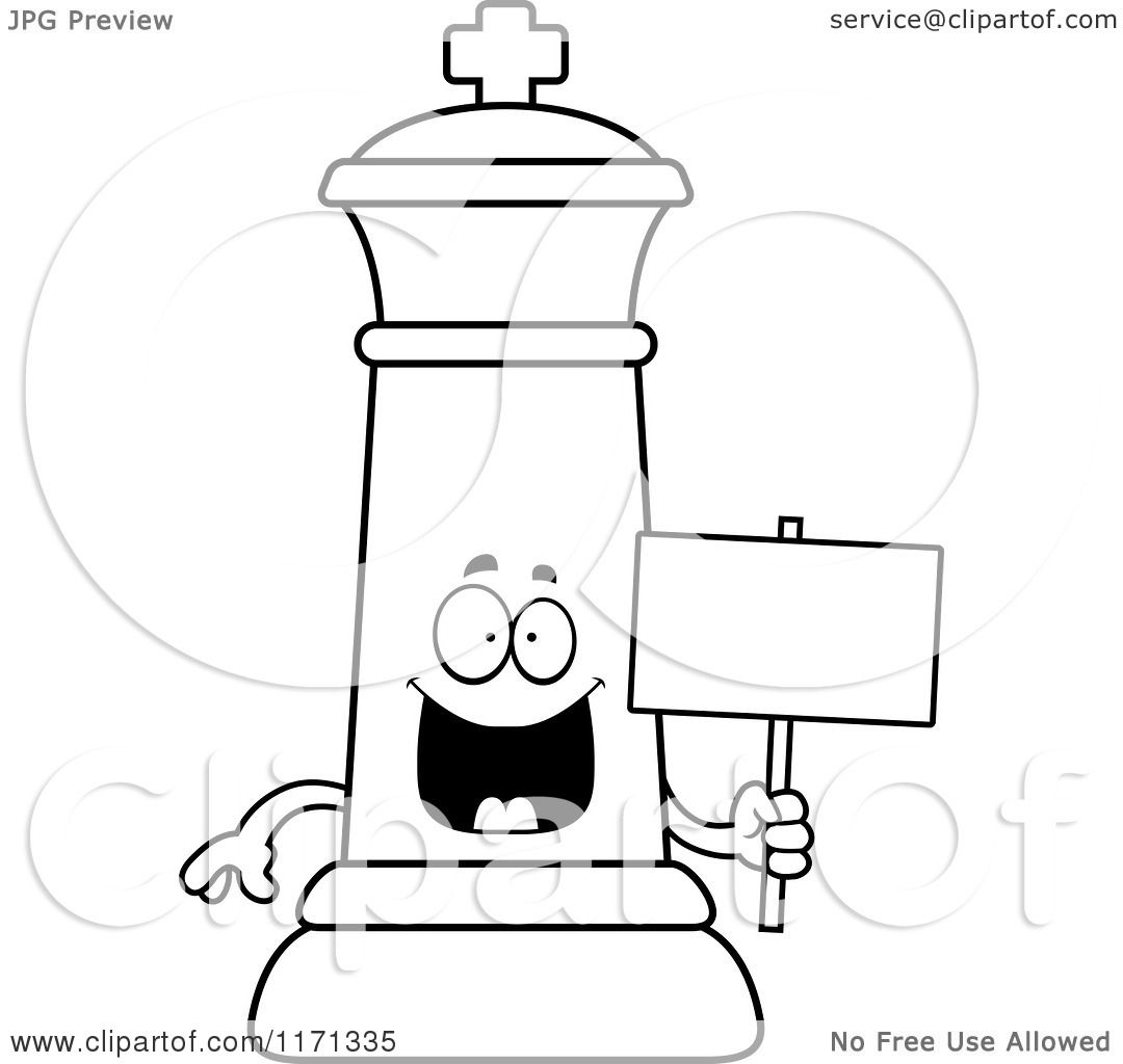Cartoon Clipart Of A Happy Black Chess King Holding Sign