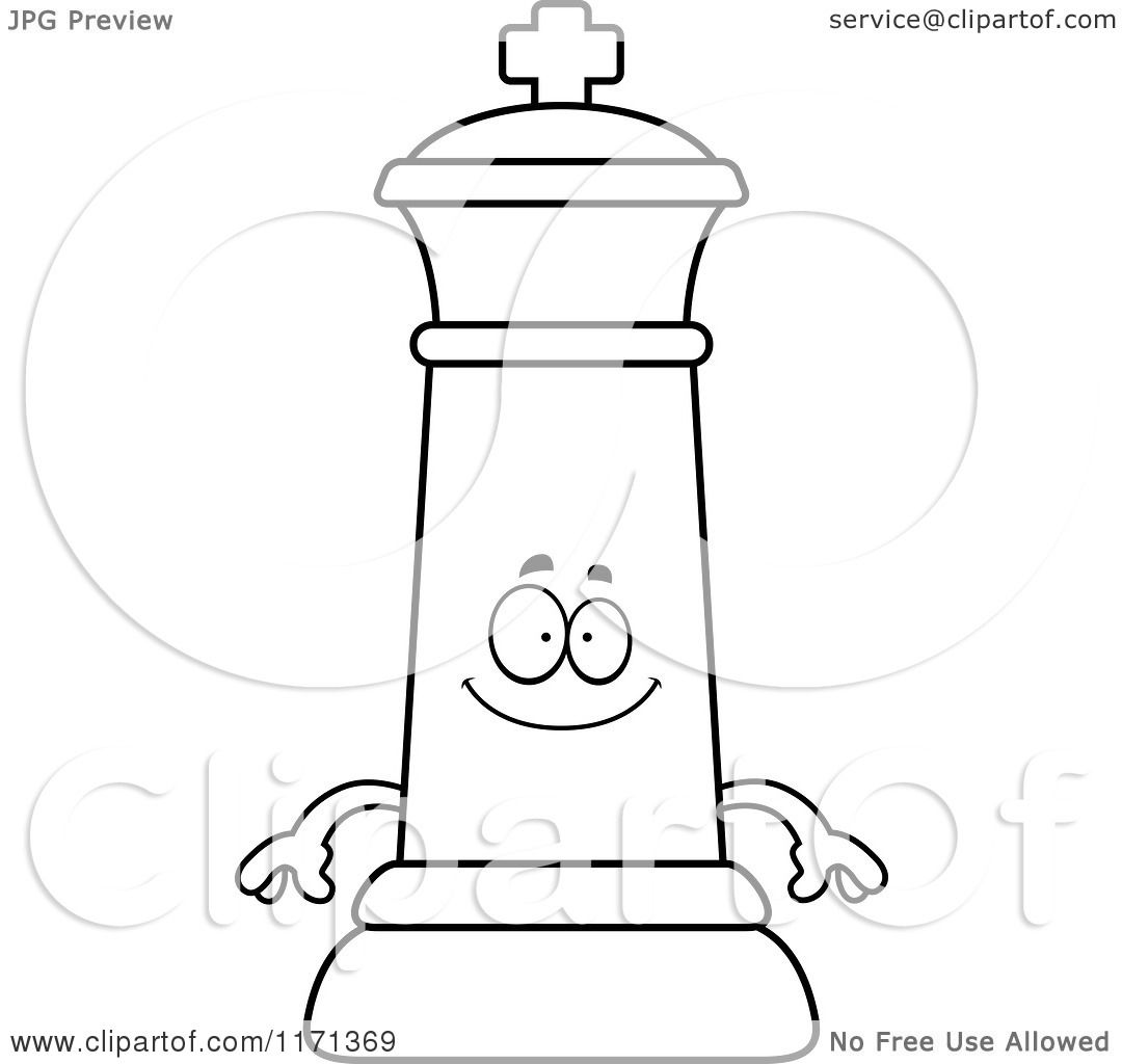 Cartoon Clipart Of A Happy Black Chess King