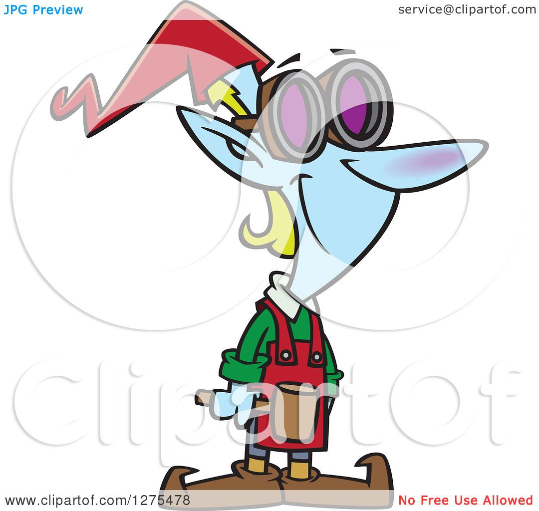 Cartoon Clipart of a Happy Christmas Elf Worker with a ...