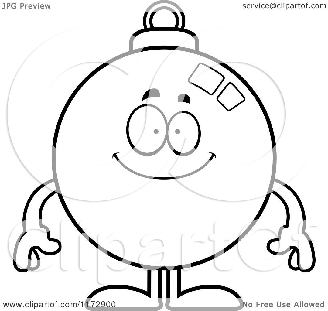 Cartoon Clipart Of A Happy Christmas Ornament Mascot