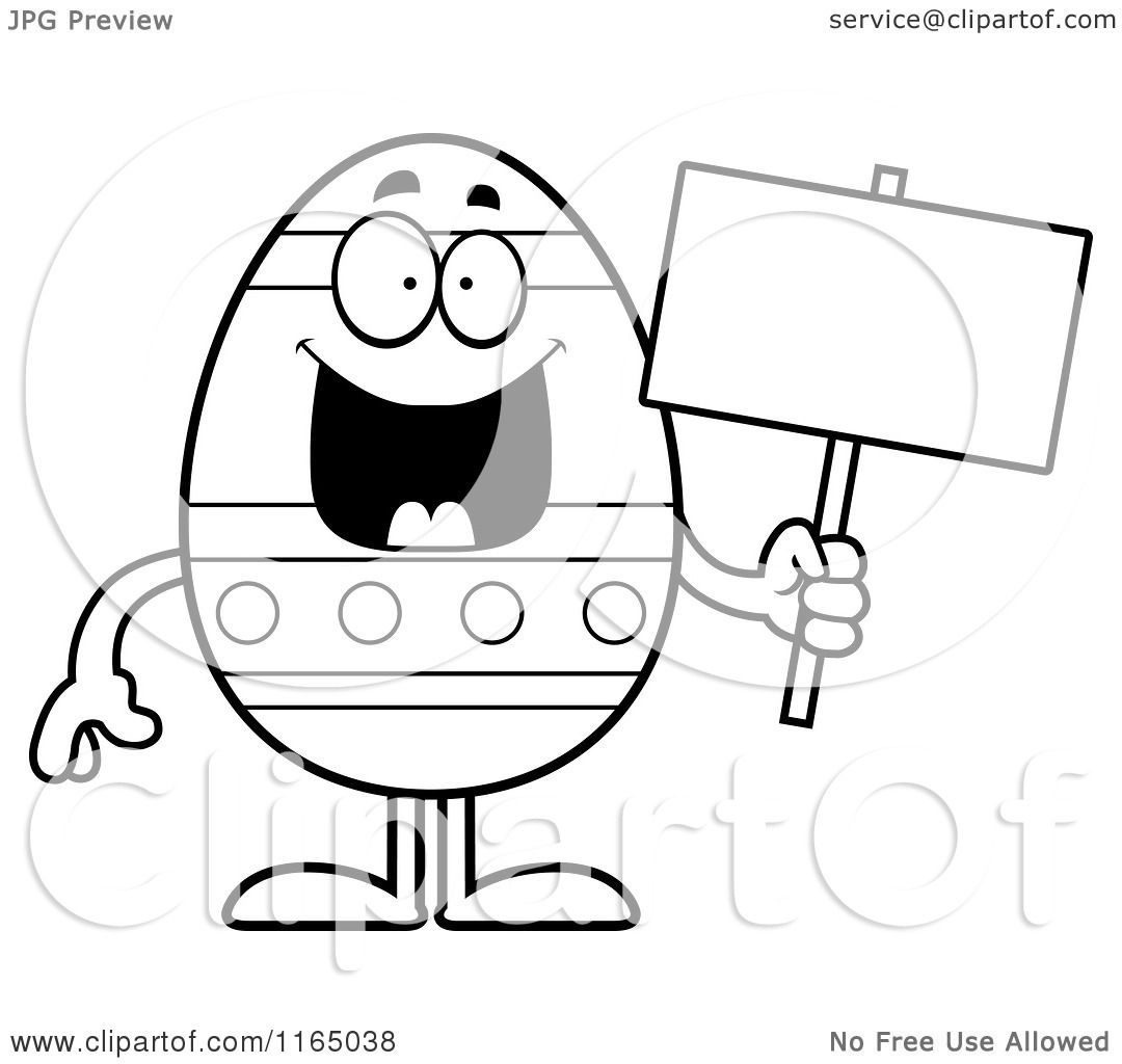 Cartoon Clipart Of A Happy Easter Egg Mascot Holding a Sign - Vector ...