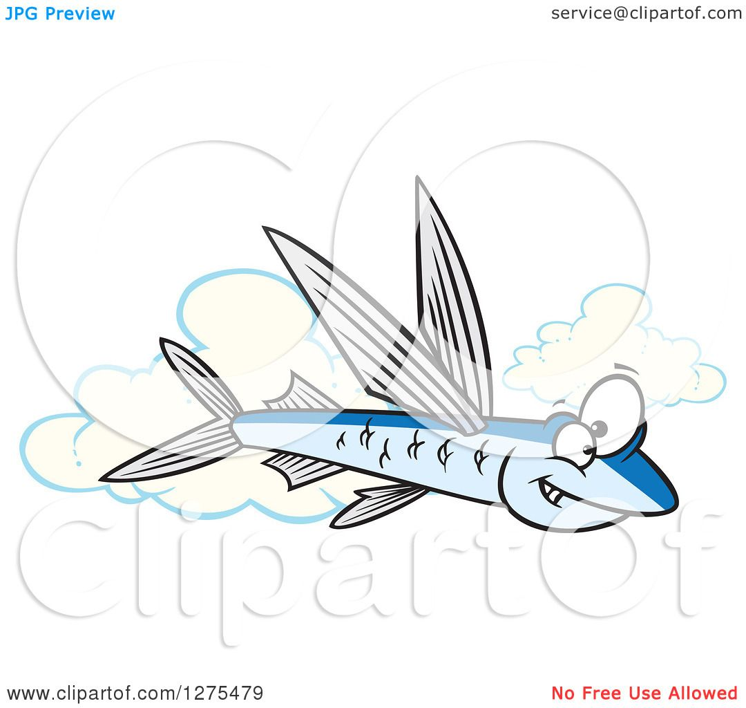 Cartoon Clipart of a Happy Flying Fish over Clouds - Royalty Free ...