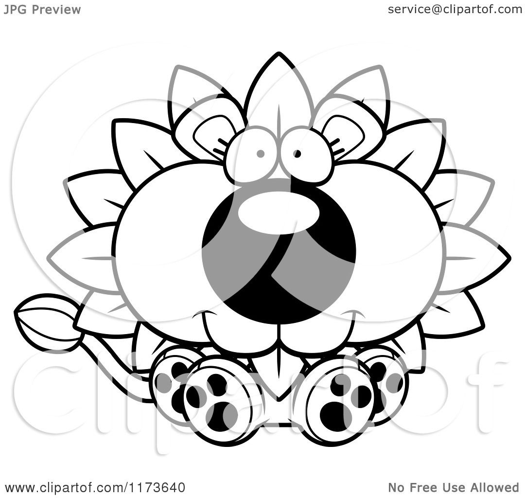 Cartoon Clipart Of A Happy Sitting Dandelion Flower Lion Mascot
