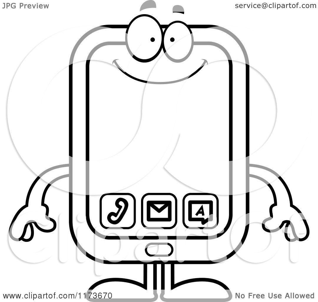 cartoon clipart of a happy smart phone mascot