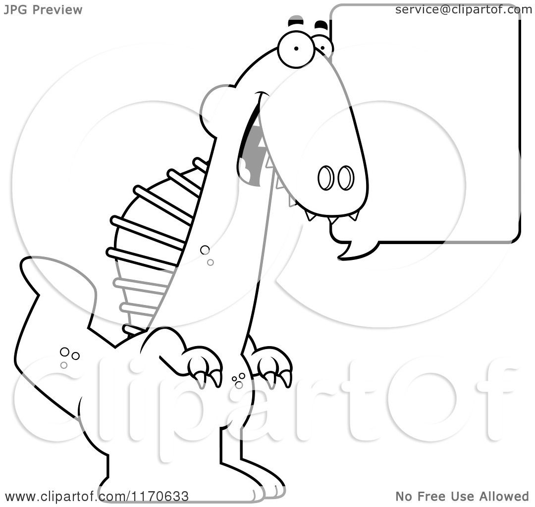 cartoon clipart of a happy talking spinosaurus dinosaur vector
