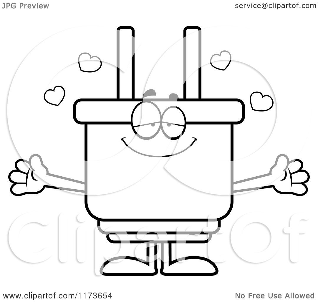 static shock coloring pages | Cartoon Clipart Of A Loving Electric Plug Mascot Wanting a ...