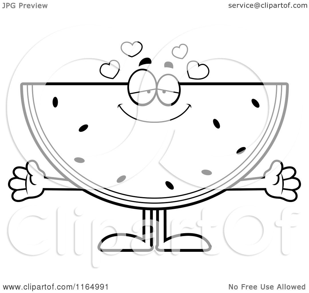 cartoon clipart of a loving watermelon mascot vector outlined