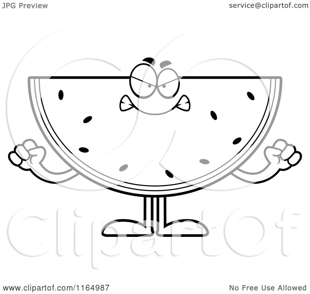 cartoon clipart of a mad watermelon mascot vector outlined