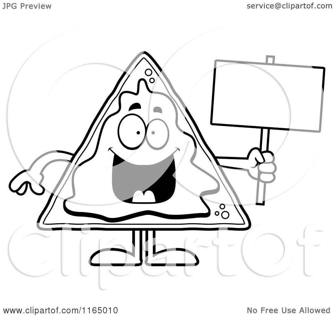 Cartoon clipart of a nacho mascot holding a sign vector for Nachos coloring page