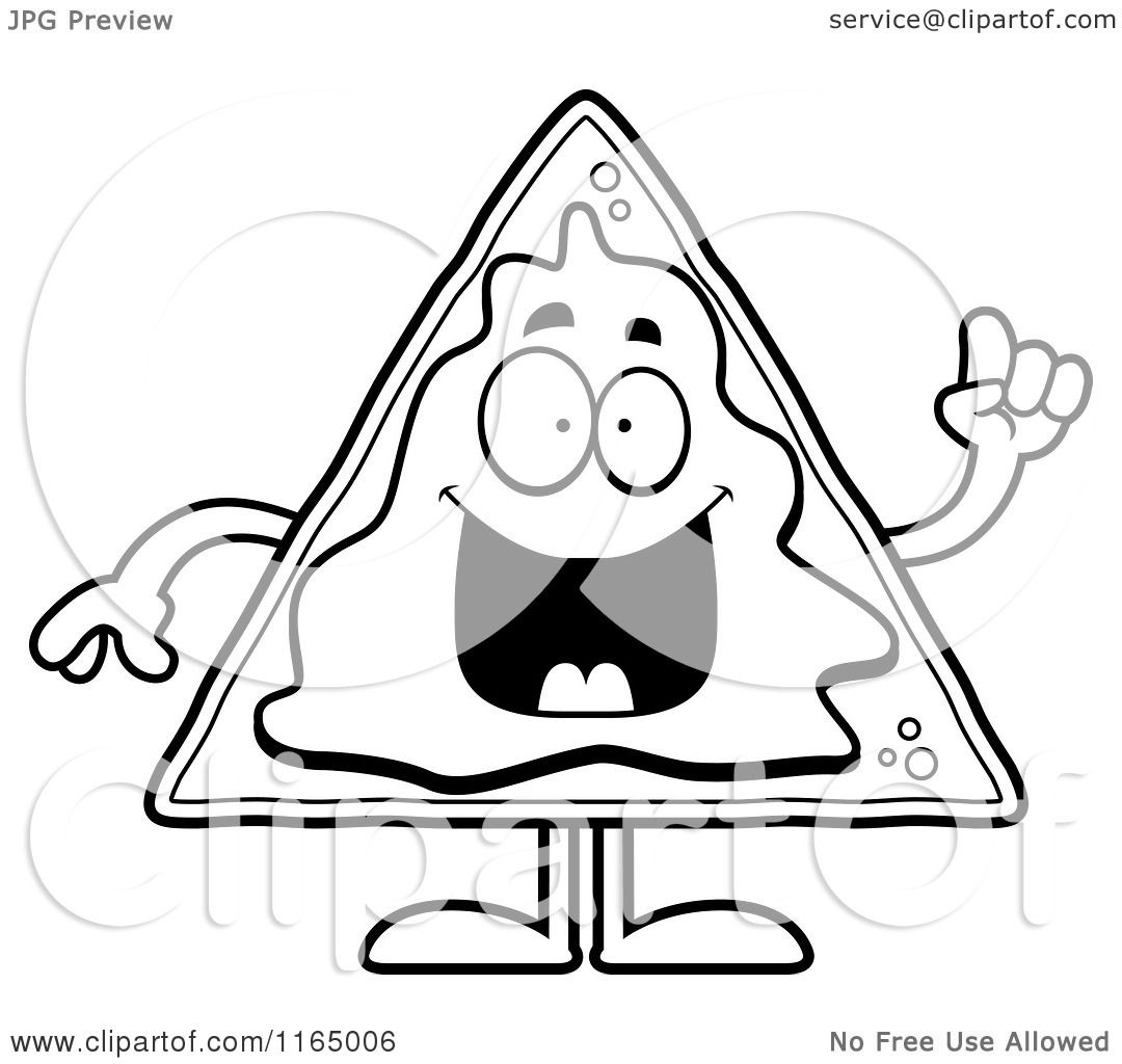 Cartoon clipart of a nacho mascot with an idea vector for Nachos coloring page