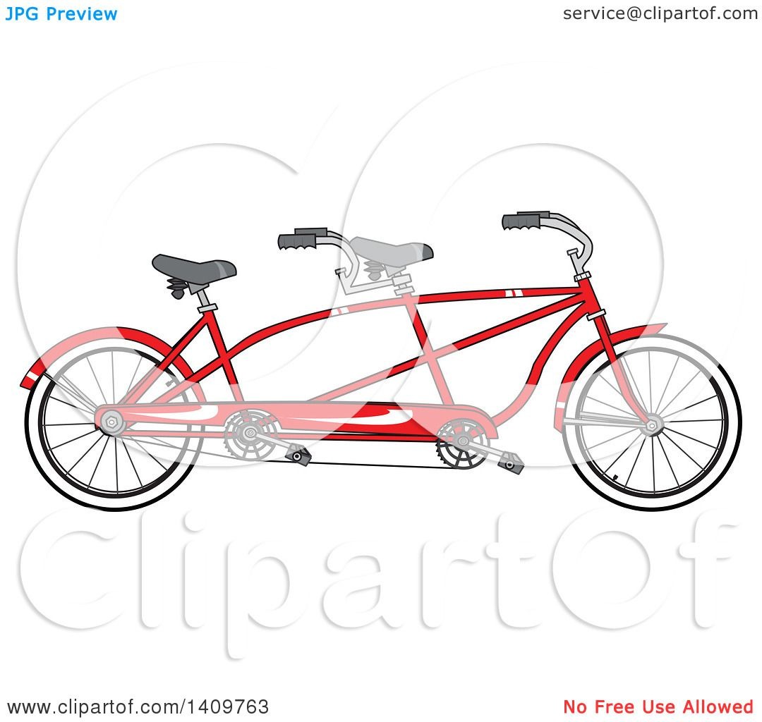 Cartoon Clipart Of A Red Tandem Bicycle