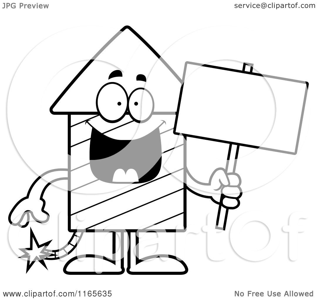 cartoon clipart of a rocket firework mascot holding a sign vector