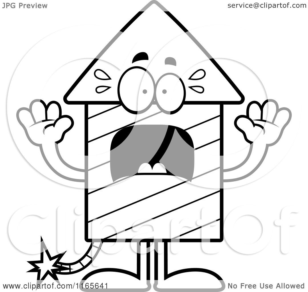 cartoon clipart of a scared rocket firework mascot vector