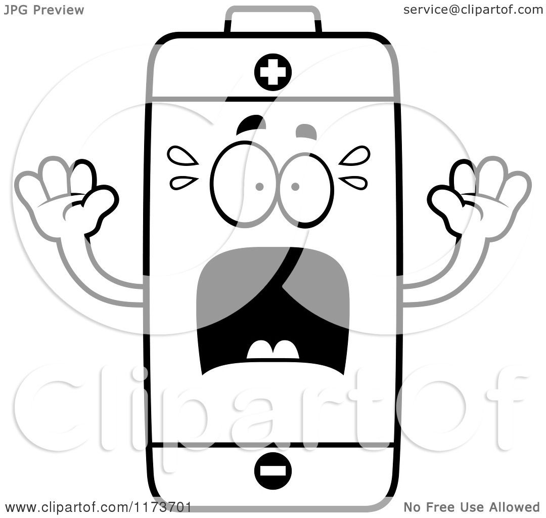 cartoon clipart of a screaming battery mascot