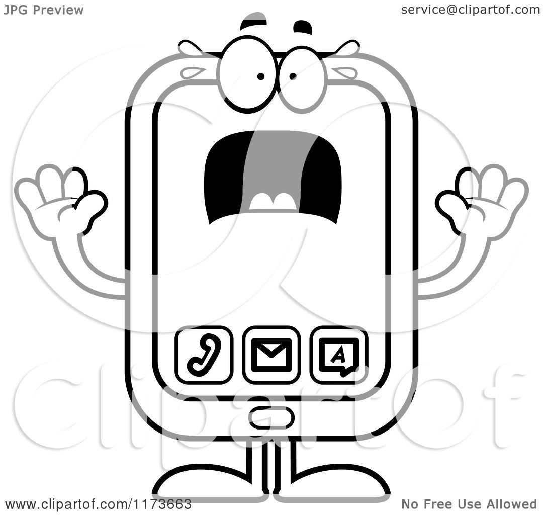 cartoon clipart of a screaming smart phone mascot