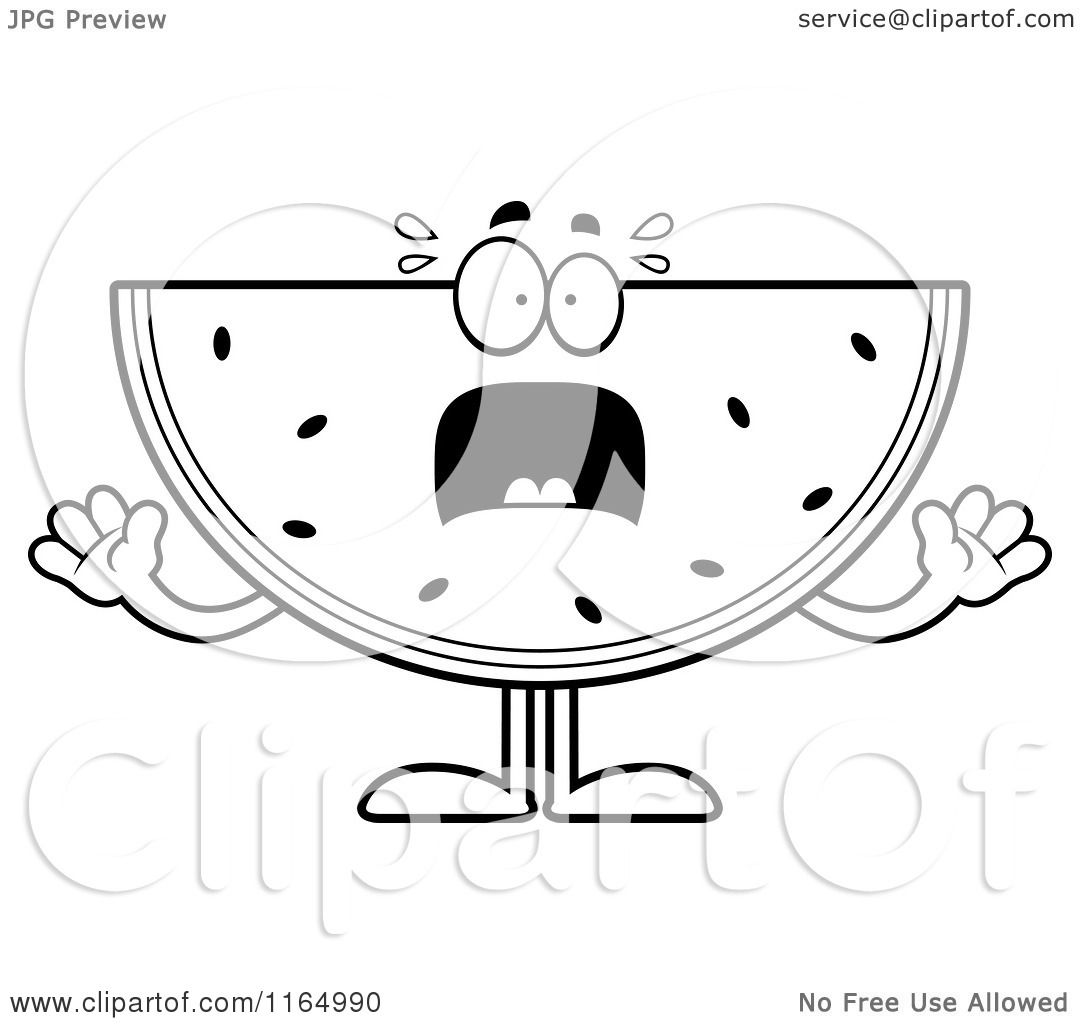 cartoon clipart of a screaming watermelon mascot vector outlined