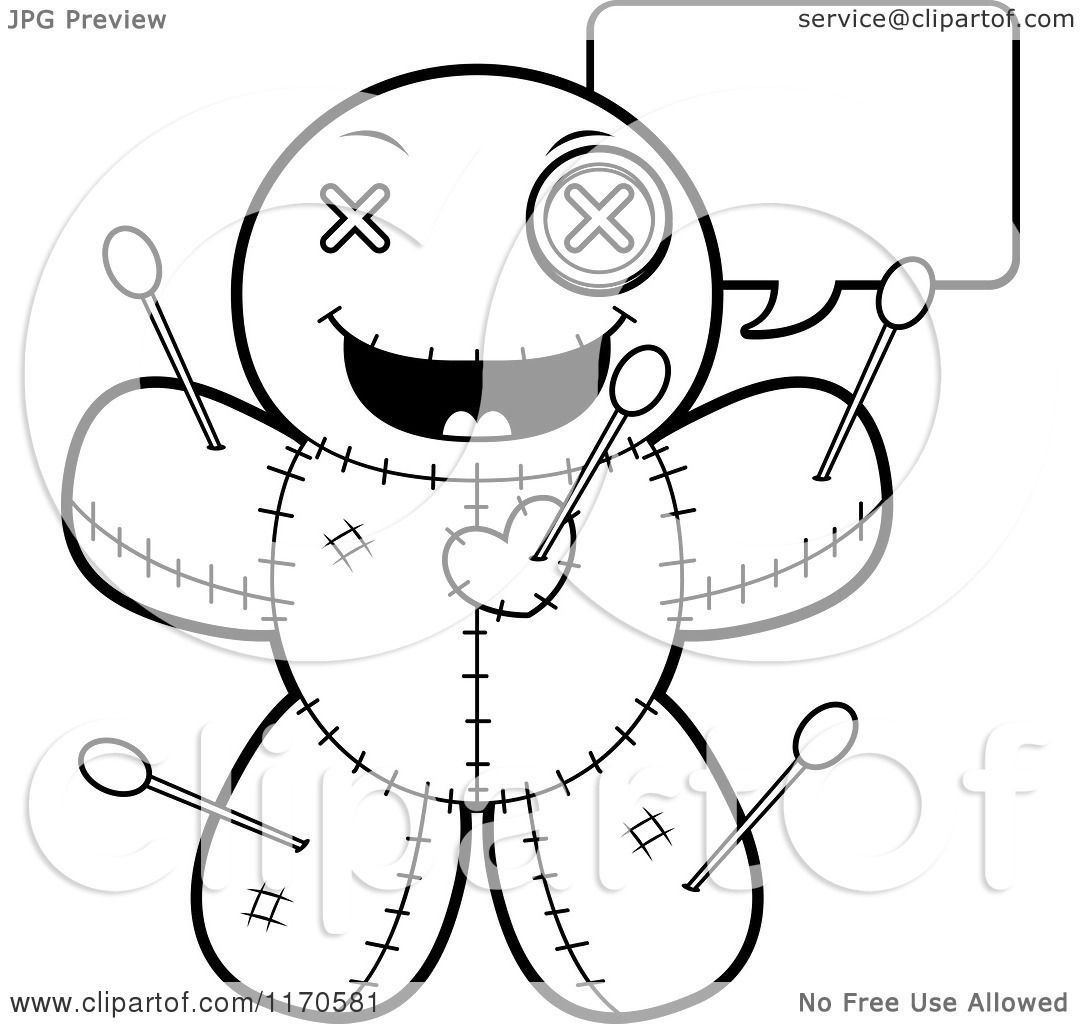 ... Talking Voo Doo Doll - Vector Outlined Coloring Page by Cory Thoman