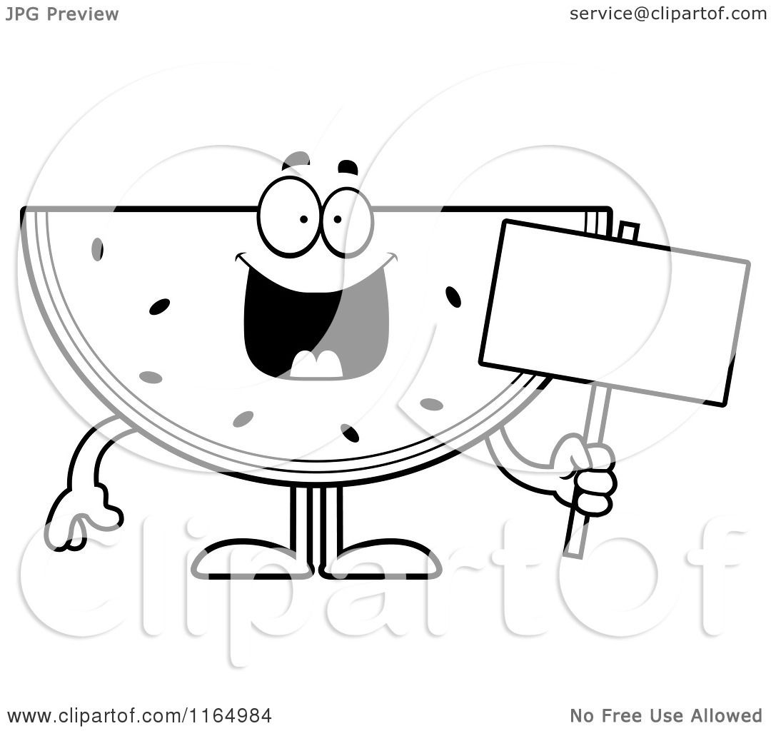 Watermelon colouring pages - Cartoon Clipart Of A Watermelon Mascot Holding A Sign Vector Outlined Coloring Page By Cory Thoman