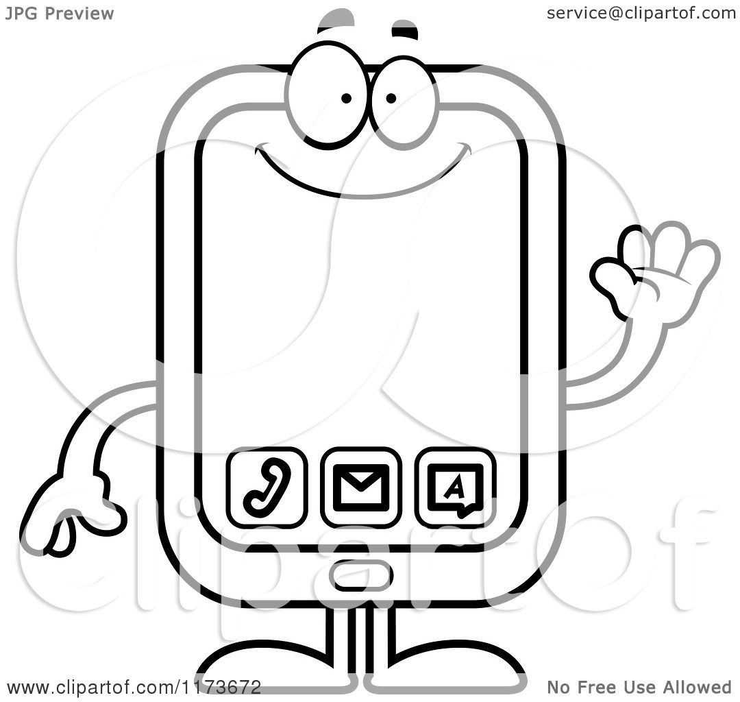 Smart Phone Mascot - Vector Outlined Coloring Page by Cory ...