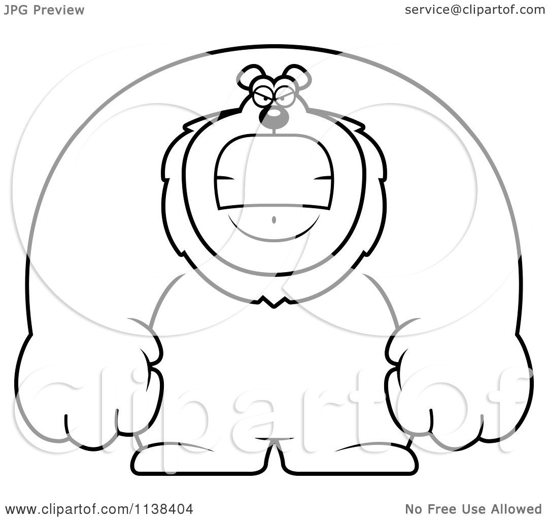 cartoon clipart of an outlined angry buff lion
