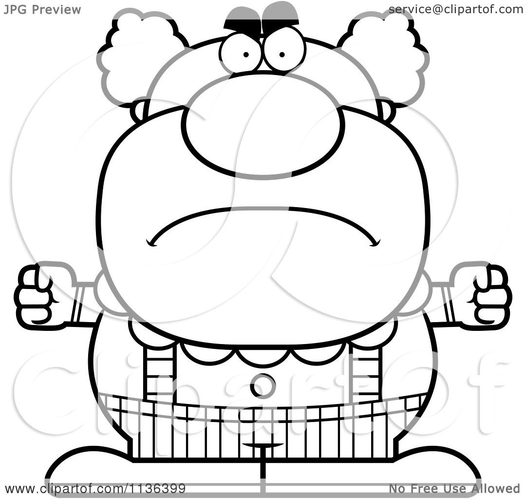 cartoon clipart of an outlined angry pudgy circus clown black