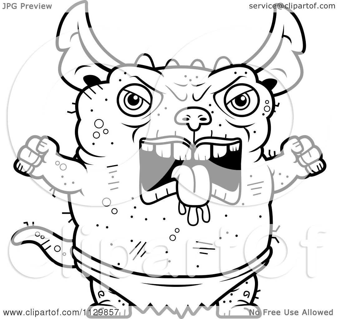 angry monster coloring pages | Cartoon Clipart Of An Outlined Angry Pudgy Green Gremlin ...