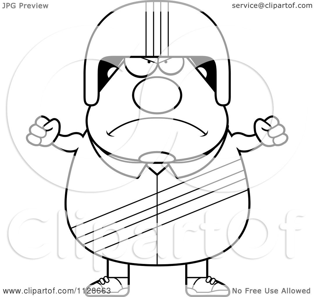 Cartoon Clipart Of An Outlined Angry Race Car Driver