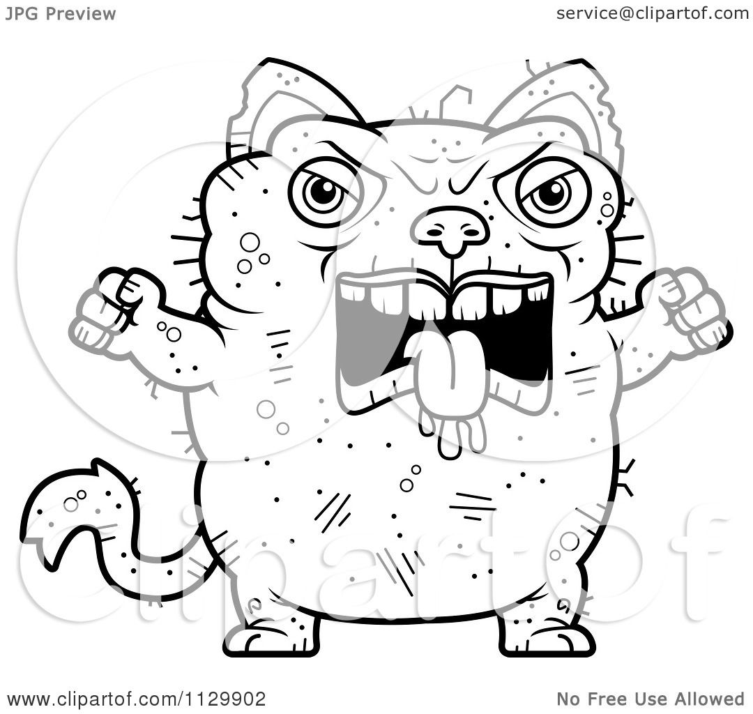 Cartoon Clipart Of An Outlined Angry Ugly Cat Black And