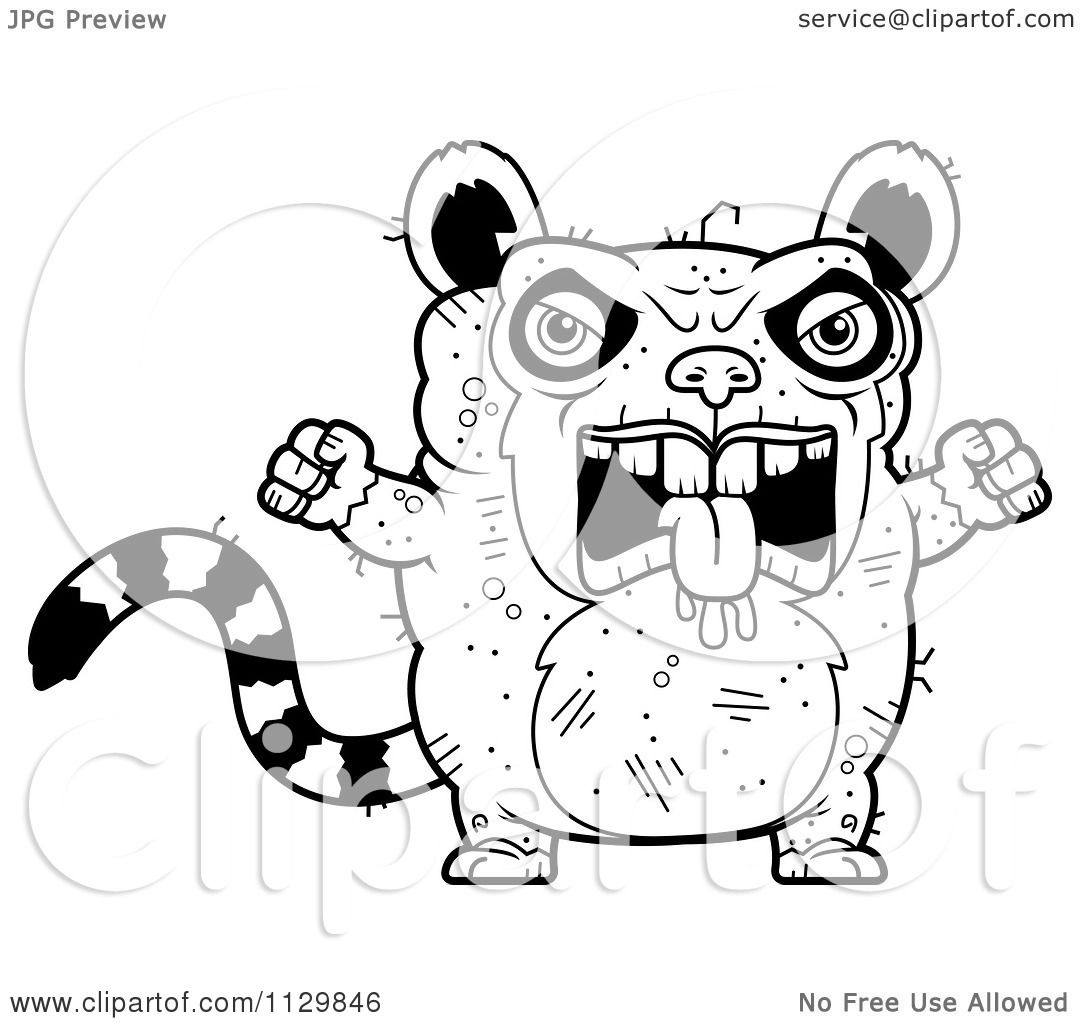 Cartoon Clipart Of An Outlined Angry Ugly Lemur Black And White