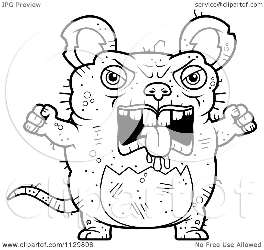 cartoon clipart of an outlined angry ugly rat black and white
