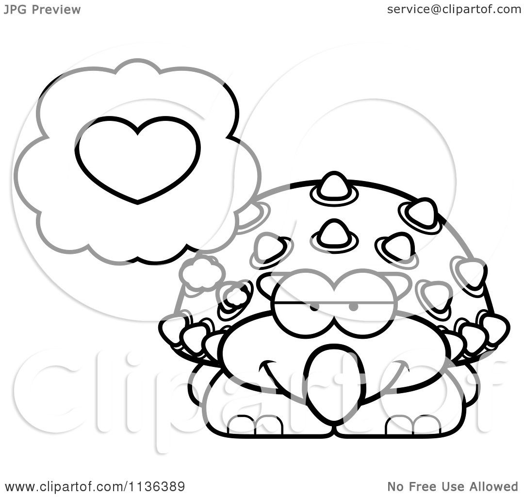 Cartoon Clipart Of An Outlined Ankylosaurus Dinosaur Thinking About ...